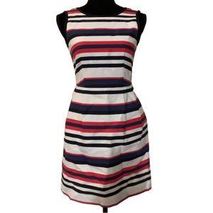 J. Crew red blue cream sleeveless dress